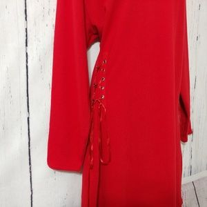 Project Runway Dresses - Project Runway Red Lace-Up Sides Sweatshirt Dress